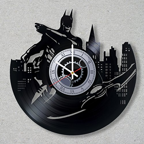 [Contemporary modern justice bat vinyl record wall clock bat comics dark movie home room kitchen decor unique gift ideas for him her boys] (Frank Miller Batman Costume)