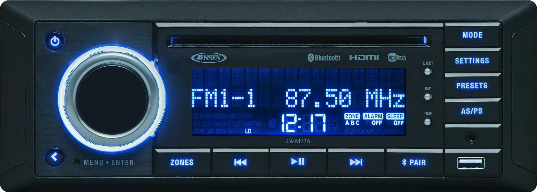Jensen JWM72A 3-Speaker Zones Slimline DVD|USB|AUX|HDMI|App Ready Bluetooth Wallmount Stereo, Speaker Output 8X 6 Watt, Plays: CD/CD-R/CD-RW/DVD/DVD+R/DVD+RW/DVD-R/DVD-RW/MP3/WMA/JPEG