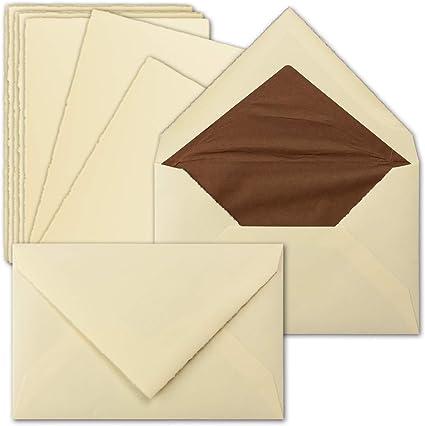 senza Piega/ B6 /zerkall fatta a mano 15 Sets avorio Vera di carta fatta a mano 11,3/x 17,5/cm circa Vintage singolo di carte /& Lettera di buste