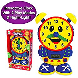 The Learning Journey Telly The Teaching Time Clock Primary Colors - Electronic Analog & Digital Time Telling Aid with Two Quiz Modes & Night Light- Preschool Toys & Gifts for Boys & Girls Ages 3 & Up