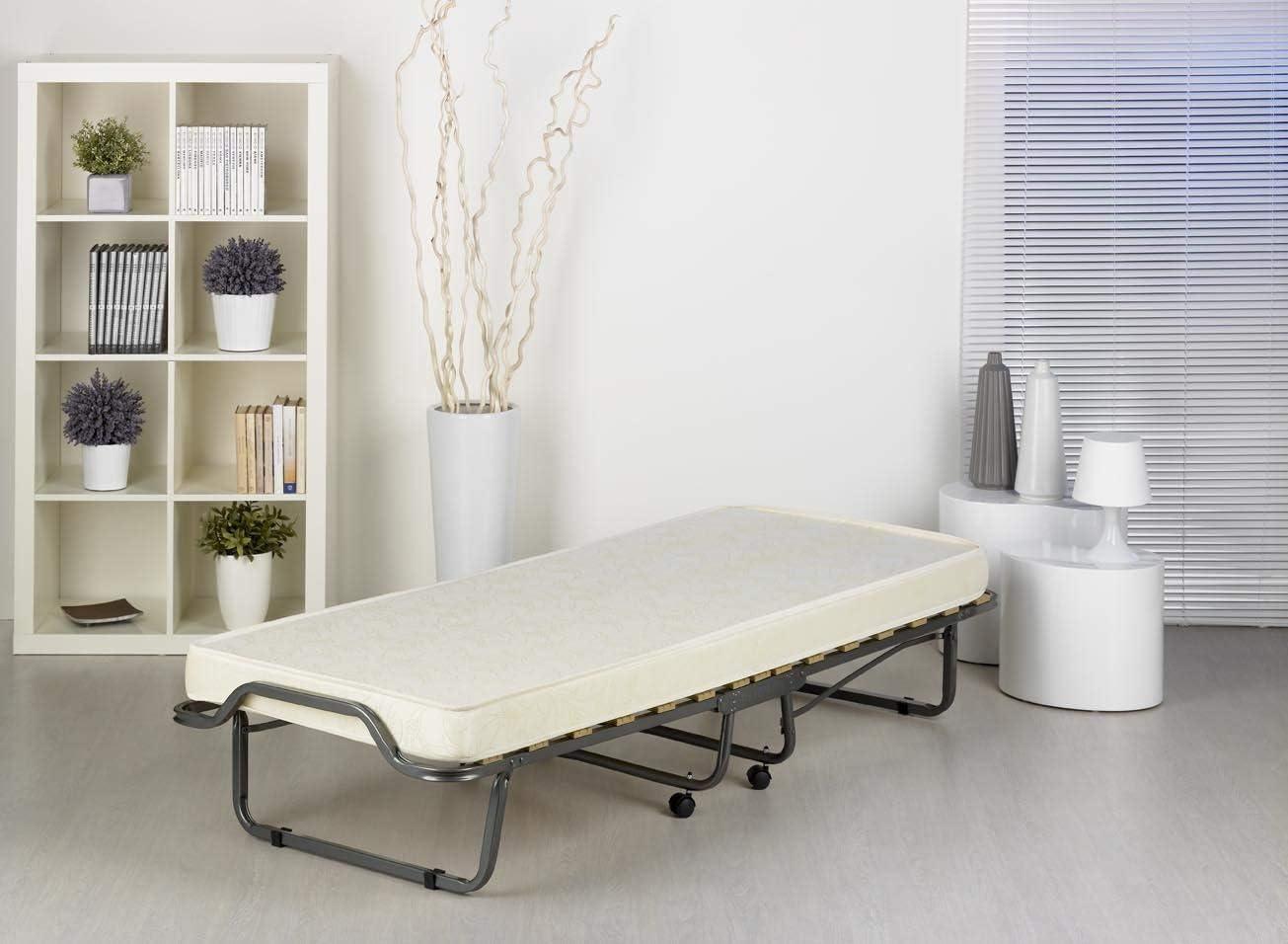 80 x 200 cm Matratze: Hellgrau Veraflex Colonia Guest Bed Metal Frame Anthracite Mattress Light Grey Rahmen: Anthrazit Steel