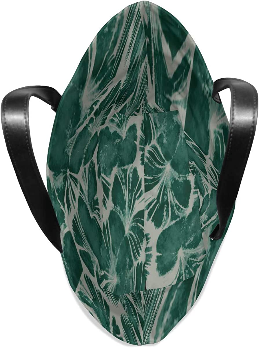 Tote Leather Handle Satchel Handbags For Kids Purse Messenger Bags Medium Tote Bag For Women Green Retro Romantic Art Flower Printing Tote Gym Bag