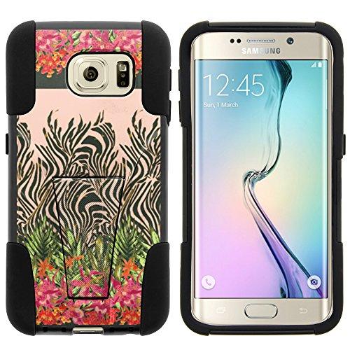 MINITURTLE Case Compatible w/ Galaxy S6 Edge Case, Fusion STRIKE Impact Stand Case w/ Exclusive for Samsung Galaxy S6 VI Edge SMG925 (T Mobile, Sprint, AT&T, US Cellular, Verizon) Zebra Flower Camouflage