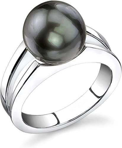 THE PEARL SOURCE 9-10mm Genuine Black Tahitian South Sea Cultured Pearl Tessa Ring for Women