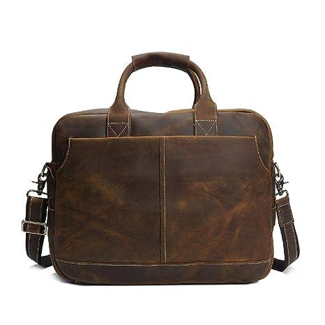 AFCITY maletín para Ordenador portátil Bolso de Cuero de los Hombres de Gran Capacidad Cartera Ajustable