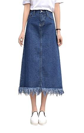 c3cfcf3571373 Women s A-line High Waist Slim Fit Denim Skirts Jeans Plus Size at ...
