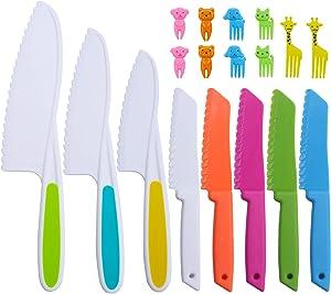 Kids Knife Set,Kids Safe Knives for Lettuce,Fruit,Bread,Cake,Salad,Animals Toothpicks Kids Food Fruit Picks Forks,Lunch Bento Box Forks Picks(18 Pack)