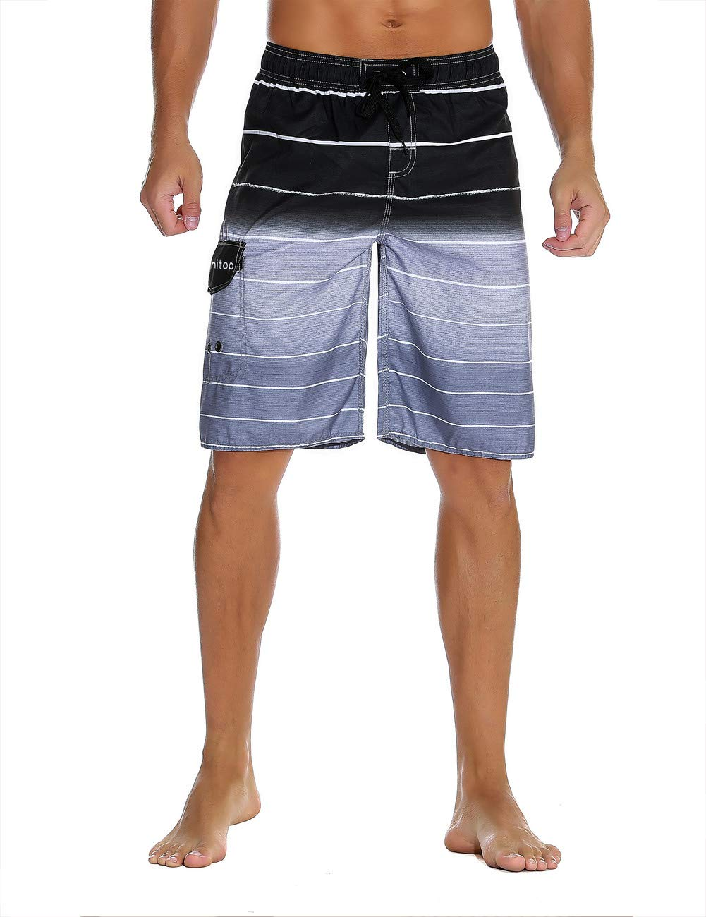 unitop Men's Colortful striped Swim Trunks Bathing Beach Board Shorts With Lining Gray-32