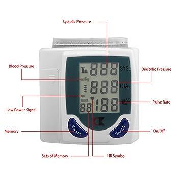 Tensiometro digital de muñeca monitor de presión arterial y frecuencia cardiaca con memoria y sensor preciso