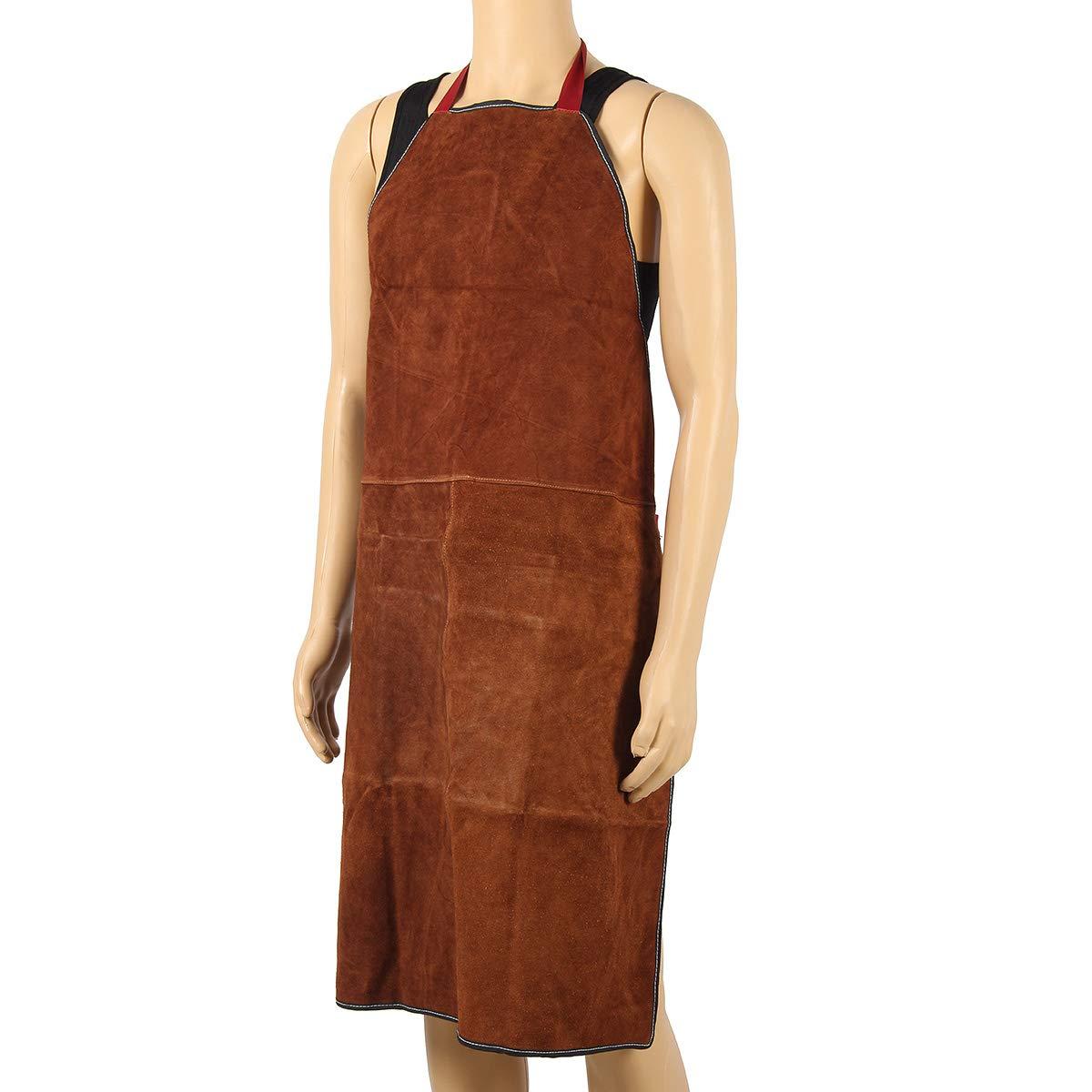 100 x 70 cm Cuir Marron Tablier de soudure chaleur Inflammable outils Tablier Heavy Duty Tablier de travail pour homme dDanke