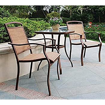 Amazoncom PC HIGH TOP BISTRO TABLE CHAIRS SET SLINGBACK - Outdoor high top bistro table and chairs