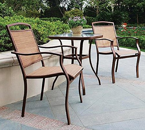 3 PC HIGH TOP BISTRO TABLE CHAIRS SET ~ SLINGBACK MATERIAL COMFORTABLE (High Top Sets Patio Furniture)