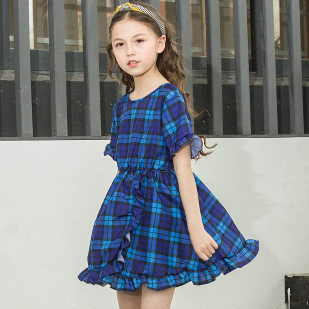 ❤️ Mealeaf ❤️ Toddler Baby Kid Girls Ruffles Ruched Plaid Princess Dresses Casual Clothes(Blue,130)