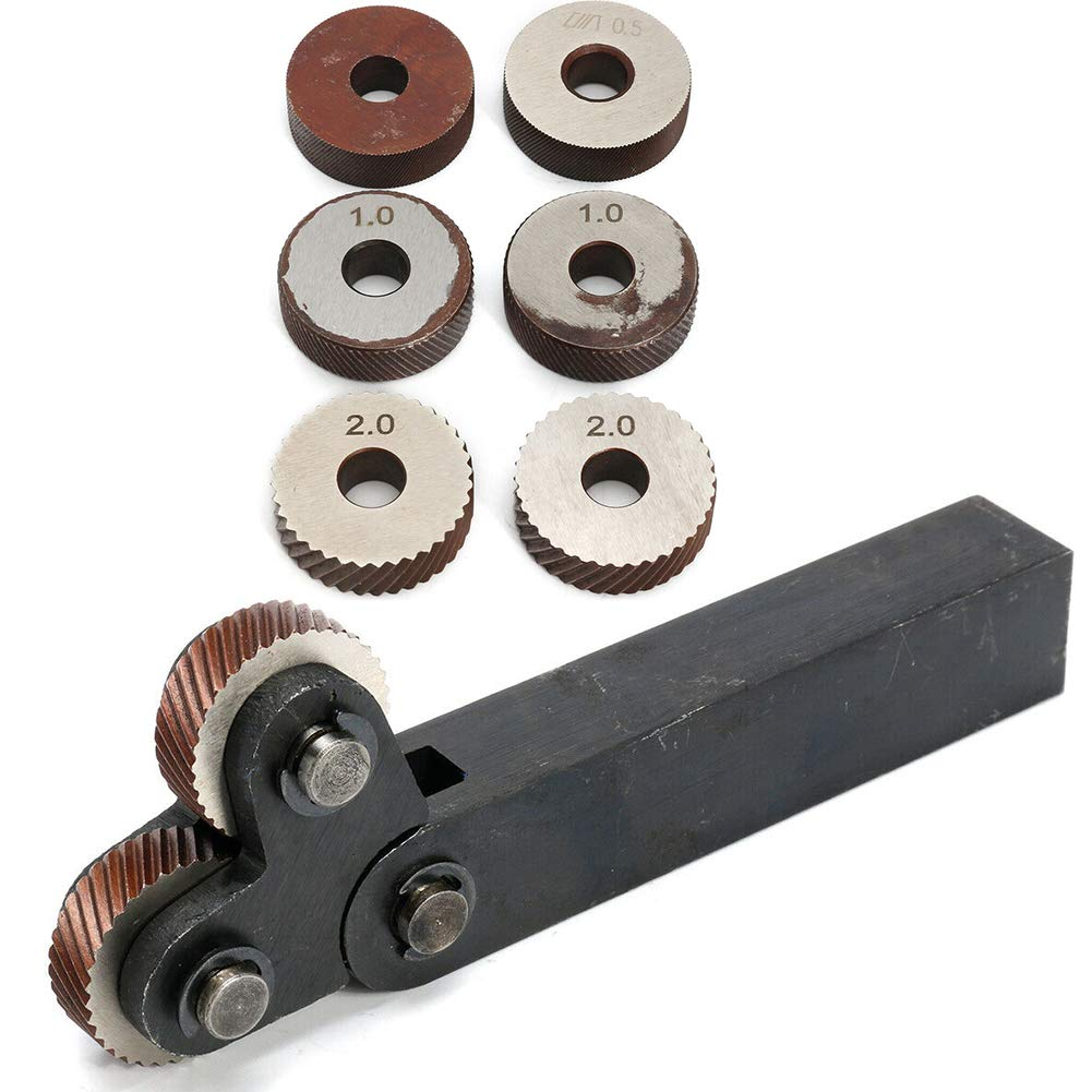 hartes Werkzeug R/ändelwerkzeug-Set Verschlei/ßfestigkeit lineares 7-tlg Stahl-Zweiradfr/äsmaschine R/ändel-Set rotierender Kopf
