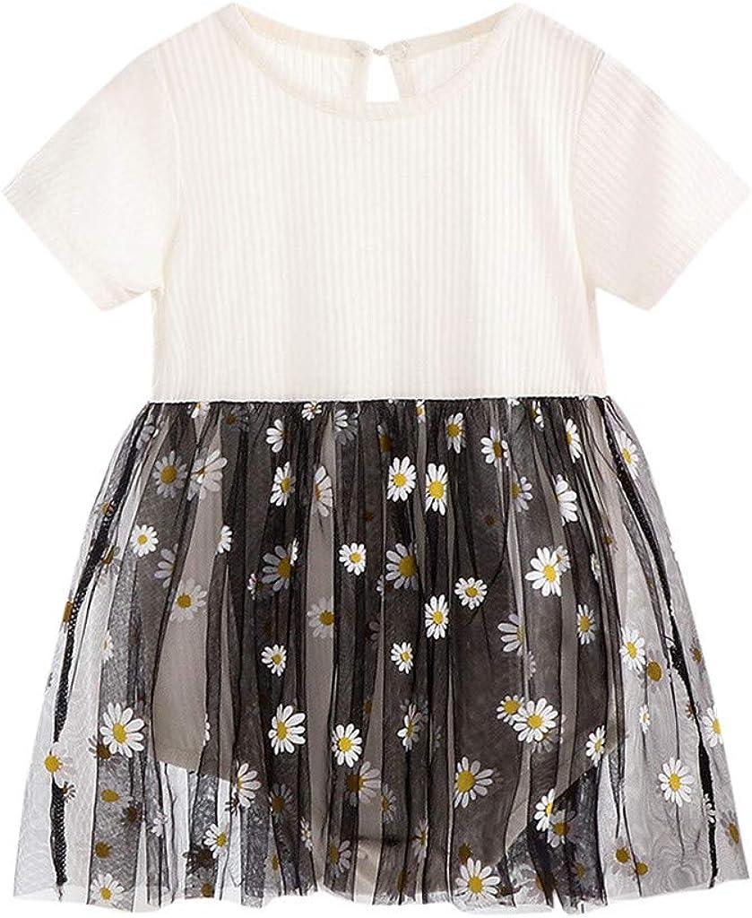 sunnymi 1-6 Jahre Kleinkind Baby M/ädchen Kurzarm G/änsebl/ümchen Blumen Patchwork Prinzessin Kleider Kleidung
