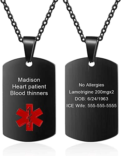 Men Engraving Medical Alert Pendant Stainless Steel Necklace Army Style