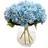 DAYAN 5pcs Fiori Artificiali Ortensia Hydrangea Simulazione Ortensia Floreali Decorazioni Casa Matrimonio Giardino Festa Nuziale color Blu