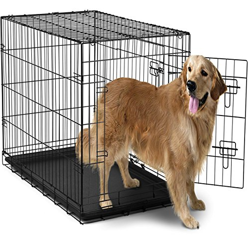 OxGord-42-XXL-Dog-Crate-Double-Doors-Folding-Metal-w-Divider-Tray-42-x-27-x-30-2016-Newly-Designed-Model