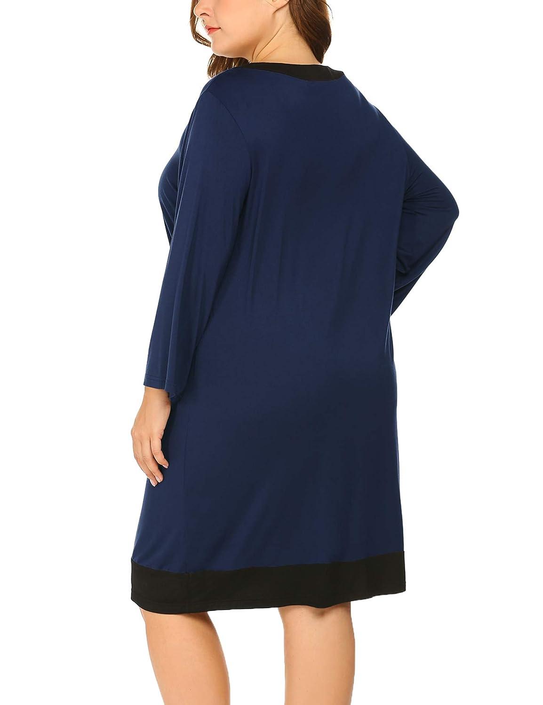 AIERVM Women\'s Plus Size Sleepwear Long Sleeve Casual Loose Night Dresses  V-Neck Nightgown