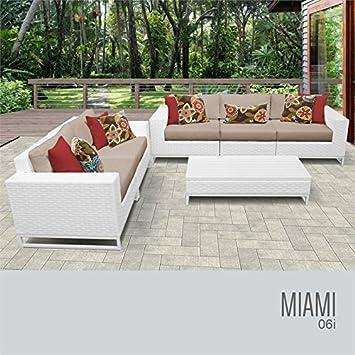 Remarkable Amazon Com Tkc Miami 6 Piece Patio Wicker Sofa Set In Wheat Cjindustries Chair Design For Home Cjindustriesco