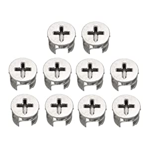 uxcell 10 Pcs Furniture Connecter Cam Lock Fittings 15mm x 12mm for Cabinet Drawer Dresser and Wardrobe Furniture Panel Connecting