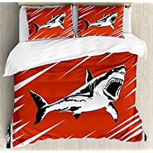 Shark King Size Duvet Cover Set by Ambesonne, Killer Sea Creature Swimming in the Ocean in Grunge Stylized Artful Graphic, Decorative 3 Piece Bedding Set with 2 Pillow Shams, Black White Ruby