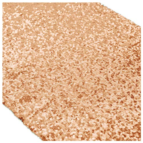 ShinyBeauty Birthday Decorations 12x120-Inch Sequin Table Runners Rose Gold Table Decor ~0910S