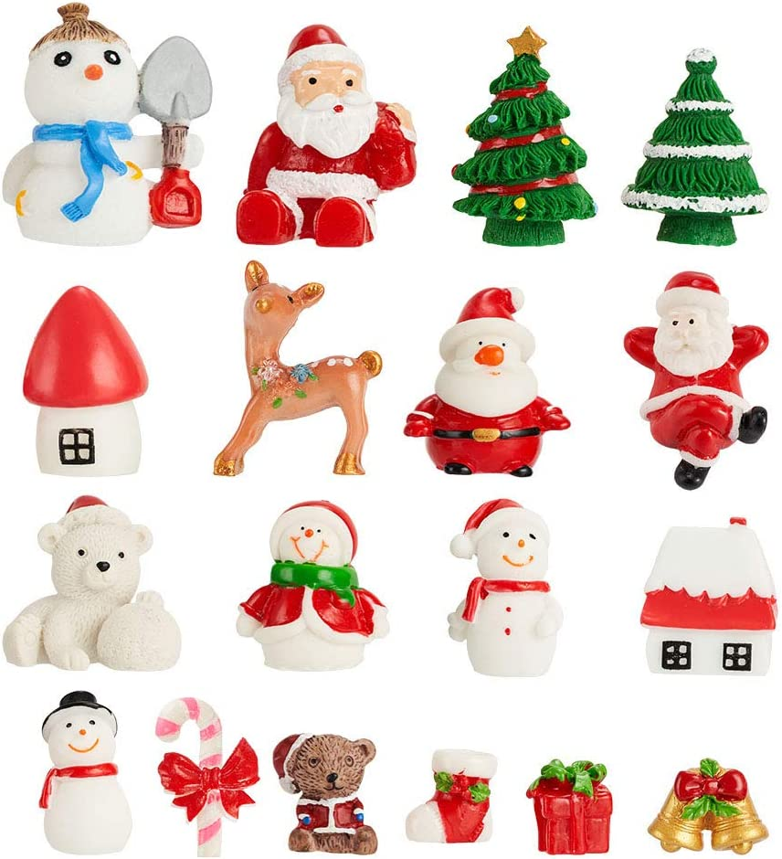 CCINEE 18PCS Christmas Miniature Figurines Ornament Kit Santa Claus Tree Resin Decoration for Fairy Garden Doll House Home Decor