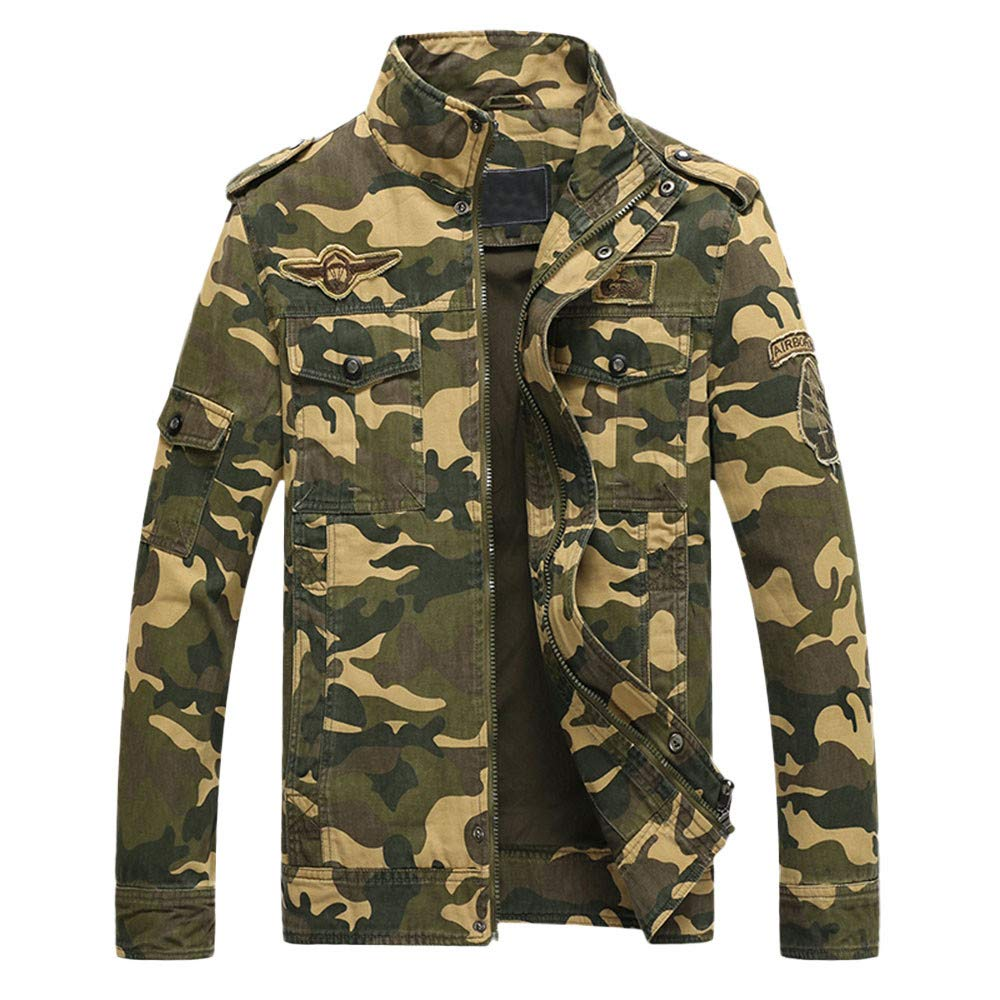 GoodLock Clearance!! Men's Fashion Camo Jackets Casual Autumn Winter Long Sleeve Camouflage Cotton Tooling Jacket Tops