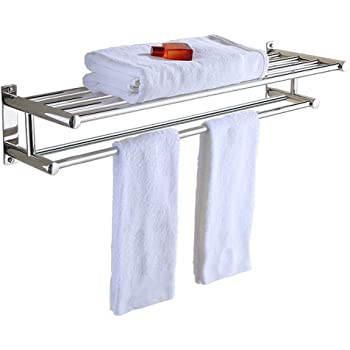 Stainless Steel Double Towel Bar 24 Inch Wih 5 Hooks ,bathroom Shelves,towel  Holders