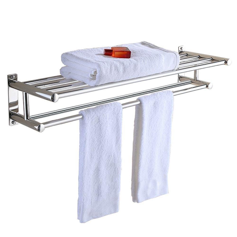 Stainless Steel Double Towel Bar 24 inch wih 5 Hooks ,bathroom shelves,towel holders bath ,towel rack ,bathroom shelves