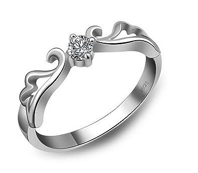 angel wings crown design engagement rings silver crystal wedding true love eternity promise ring for women - Crystal Wedding Rings