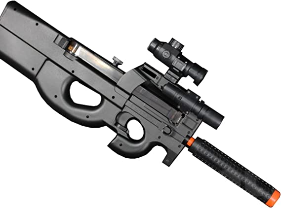 Well D90H P90 STYLE FULL AUTO ELECTRIC AIRSOFT ELECTRIC RIFLE WITH A TARGET AND OTHER ACCESSORIES