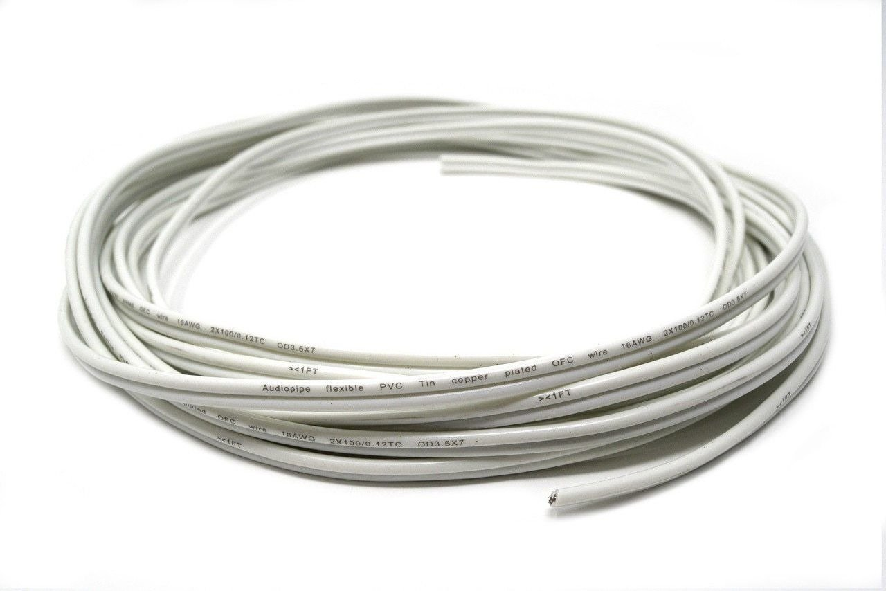 25'FT 16 Gauge White Marine Wire Tin Copper Plated OFC Speaker Cable 2 Conductor