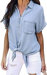 Yying Femmes Blouse Dames Casual Vintage Denim Shirt Tops Bleu Jean Button Manches Courtes Blouse Jacket S-XL