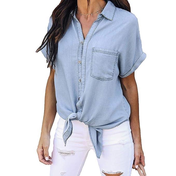 junkai Denim Blouse Mujeres Moda Casual Blue Jacket Camisetas De Manga Larga Tops Azul Claro S