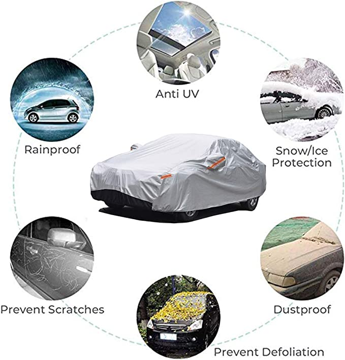Length 165-175 inch 6 Layer Heavy Duty Cover Sun Uv Protection GUNHYI Outdoor Car Covers for Automobiles Waterproof All Weather Universal Fit Sedan