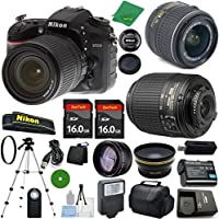 ZeeTech Ultimate Bundle for D7200 DSLR Body, 18-55mm VR Lens, 55-200mm f4-5.6G ED Auto Focus-S DX Nikkor, 2pcs 16GB ZeeTech Memory, Case, Wide Angle, Telephoto, Flash