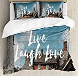 Live Laugh Love Duvet Cover Set King Size by Ambesonne, Rustic Country Houses with brick Composition Calming Scenery and a Quote, Decorative 3 Piece Bedding Set with 2 Pillow Shams, Multicolor