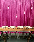 ShinyBeauty-Sequin-Curtain-Backrop-12FTx12FT-Hot Pink, Glitz Photography Background, Fast Shipping!