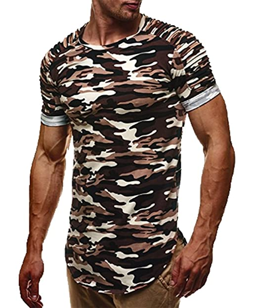 2018 hombres calientes de la venta camiseta muscular Slim Fit manga corta camuflaje blusa Tops ropa deportiva KRaivS8heG