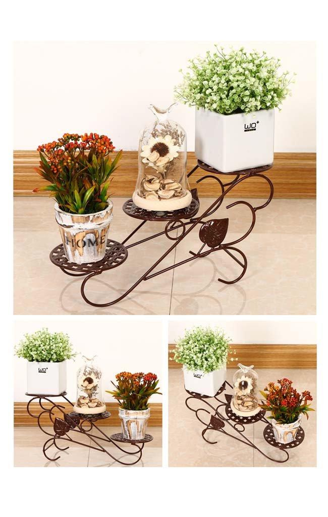 AIDELAI flower rack Vertical iron flower pot rack Patio Garden Pergolas (Color : Brass)