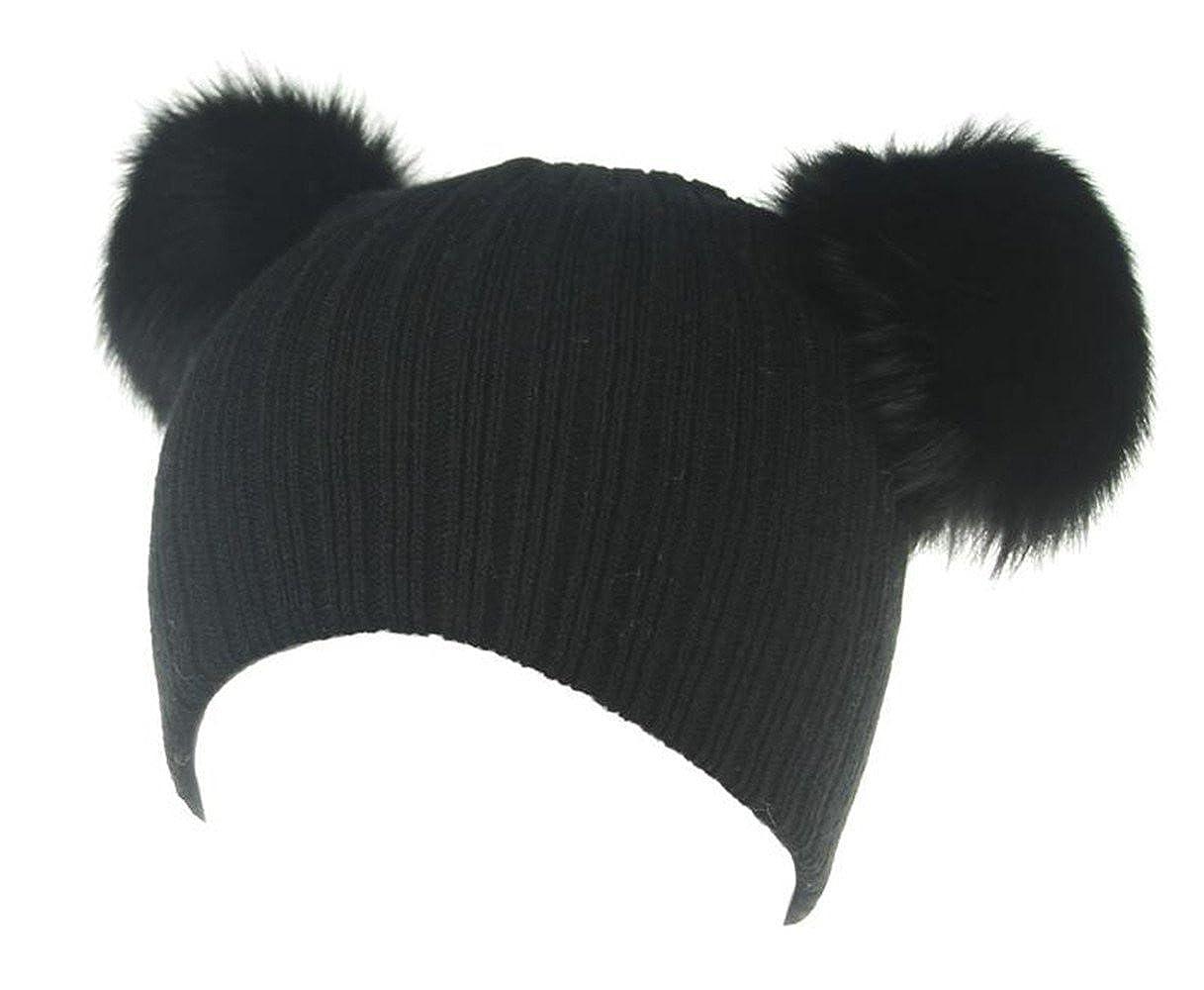 Winter Knit Double Pom Pom Beanie Hat With Hair Tie. Baby Kids Toddler Warm Hat