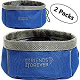 Friends Forever Collapsible Dog Bowl - 2 Pack Travel Dog Bowl, Water and Food Bowls for Dogs - Portable Pet Hiking Accessories