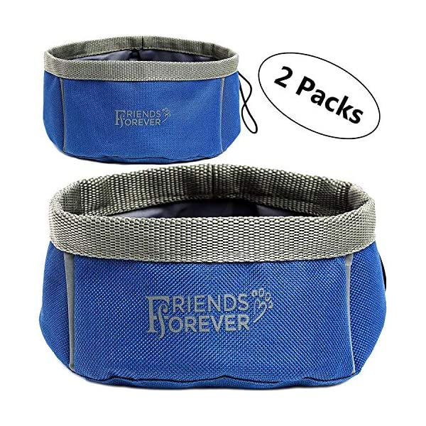 Friends Forever Collapsible Dog Bowl – 2 Pack Travel Dog Bowl, Water and Food Bowls for Dogs – Portable Pet Hiking Accessories