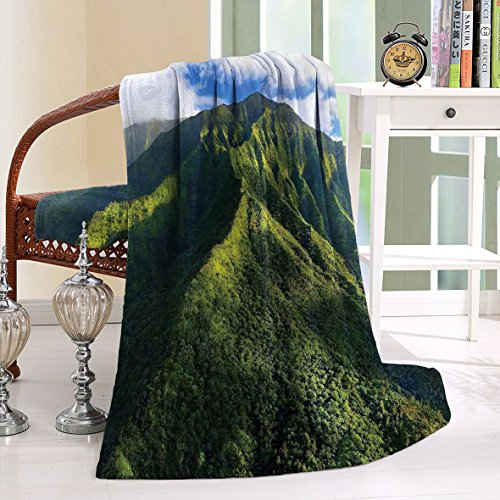 HAIXIA Throw Blanket Apartment Aerial View of Jungle Forest on the Mountains Tropical Exotic Hawaii Nature Look by HAIXIA