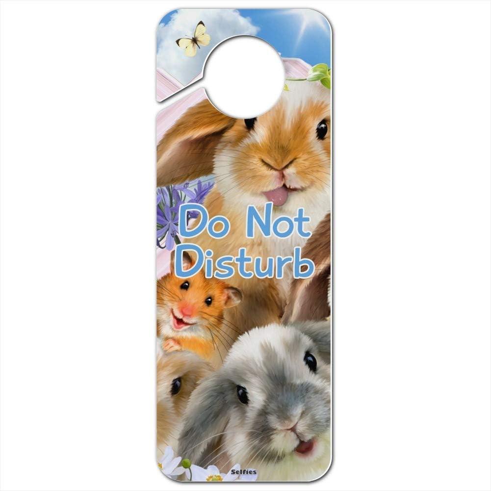 GRAPHICS & MORE Rabbits Bunnies Hampster Backyard Flower Selfie Plastic Door Knob Hanger Sign