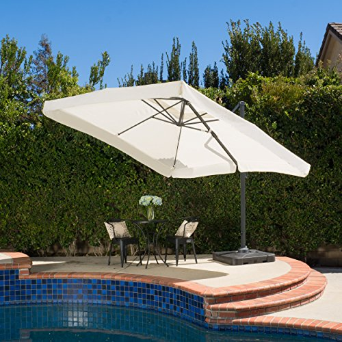 Denise Austin Home Atlantic Outdoor 9.8-Foot Canopy Umbrella with Base-Beige