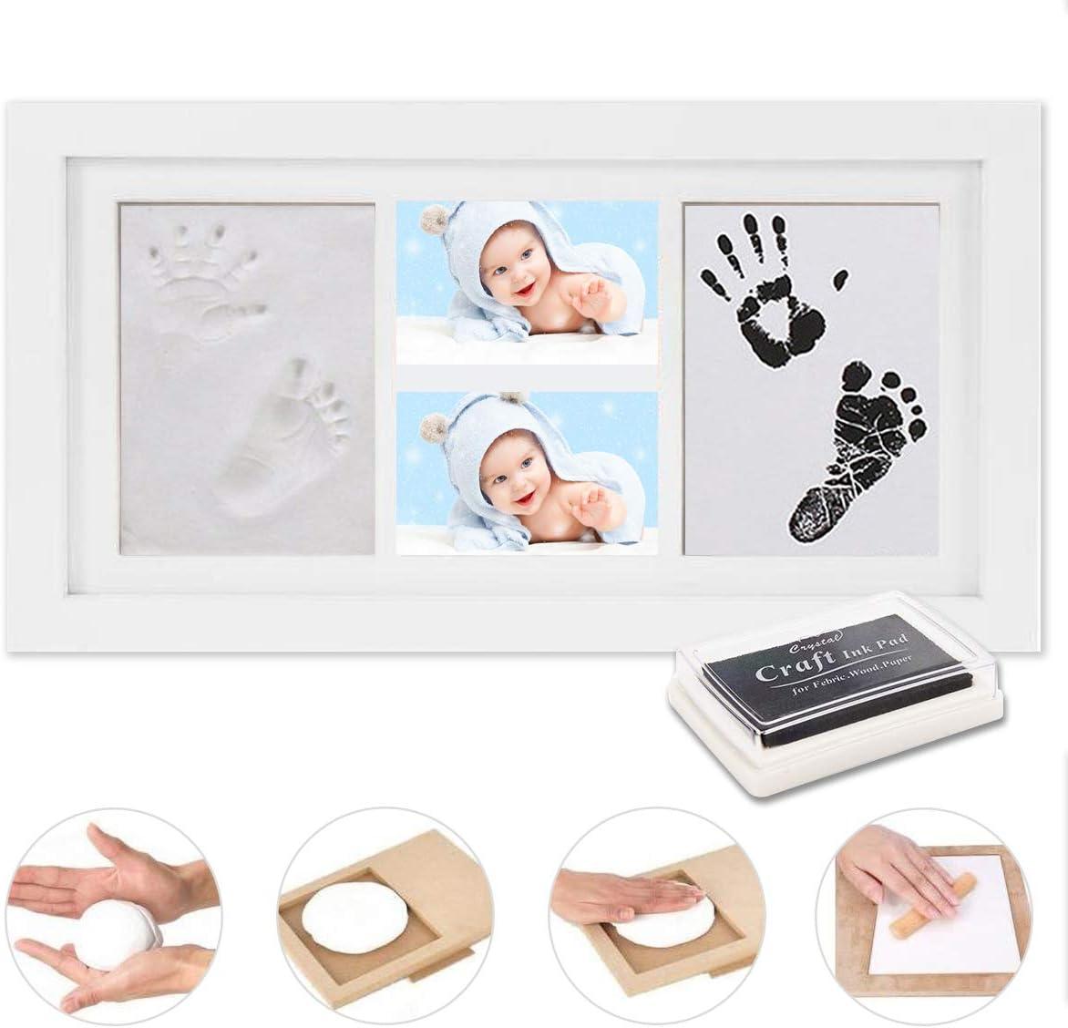 WesKimed Set de Marco de Fotos y Huellas de Bebé en Tinta,Recuerdo memorable,No tóxico,Ideal regalos para bebes,Marco de madera y cristal acrílico,Ideal decoración o regalo de baby shower