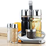 Stand Oil Vinegar Dispensers Salt Pepper Shakers Bottles Seasoning Pot with Rack, Set of 6